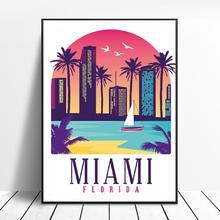 Retro Vintage Miami lienzo impresión pared arte cartel cuadro moderno dormitorio Sala decoración sin marco
