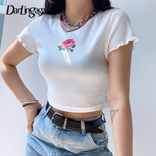 Darlingaga Stampa Floreale A Coste Bianco Tshirt Donne Aderente Crop Top Dolce Estate Sottile T-Shirt Casual Manica Corta Tee Camicette 2020(China)