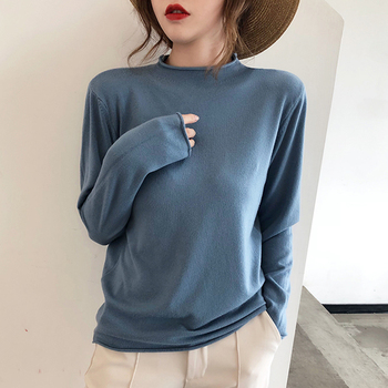 Autumn Winter Long sleeve Ruched pullovers elastic Ladies Half Turtleneck Jumpers sweater 2020 Women Fashion Wool warm knit Tops women oversized sweater and pullovers oneck sweet heart letters printed pull jumpers long sleeve pink streetwear knit tops