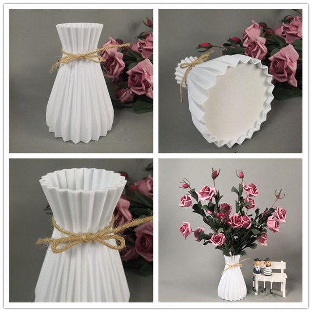 Vase decoration household plastic vase white rattan new waist vase crafts vase decoration home flower girl basket for wedding 2