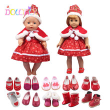18 дюймов кукла рождественское платье с шапкой подходящая обувь