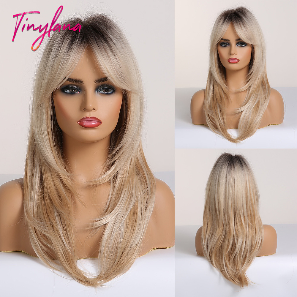 TINY LANA Black To Blonde Omber Wigs With Bangs Synthetic Hair Wigs For Women Medium Length Layered Cosplay Wigs Heat Resistant