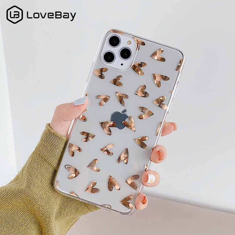 Lovebay Transparan Plating Cinta Jantung Ponsel Case untuk iPhone 7 Plus 11 Pro X XR X Max Glitter Daun hard Plastic Back Cover