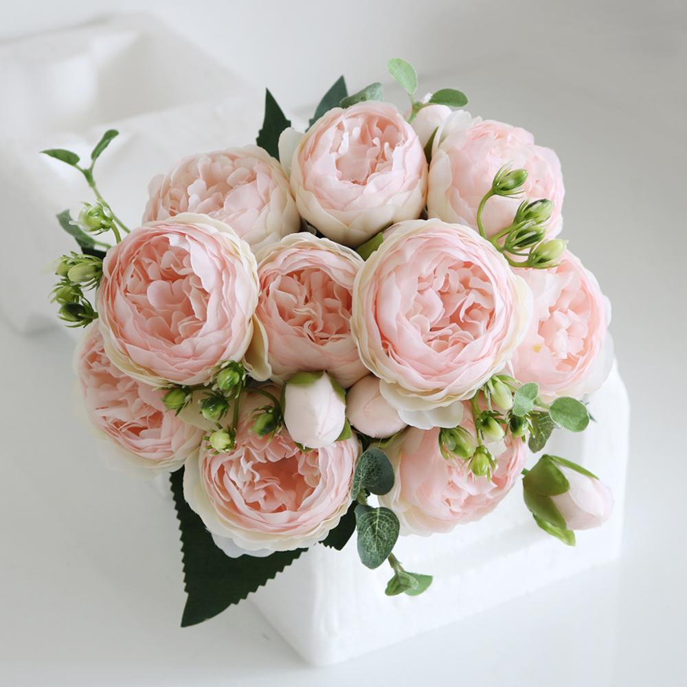 Букет из розового шелка пиона, 30 см, искусственные цветы, 5 больших головок, 4 маленьких бутона, искусственные цветы для невесты, свадьбы, дома