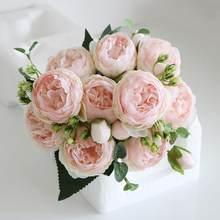 30 centimetri Rosa Rosa di Seta Bouquet di Peonia Fiori Artificiali 5 Grandi Teste 4 Piccola Gemma Sposa di Cerimonia Nuziale Della Decorazione Della Casa di Falso fiori Faux