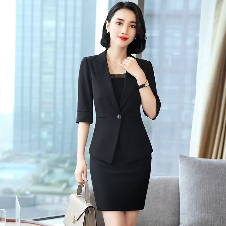 skirt suit complete office women Female office lady suit lady uniform two piece blazer with skirt suits set costumes Work Wear