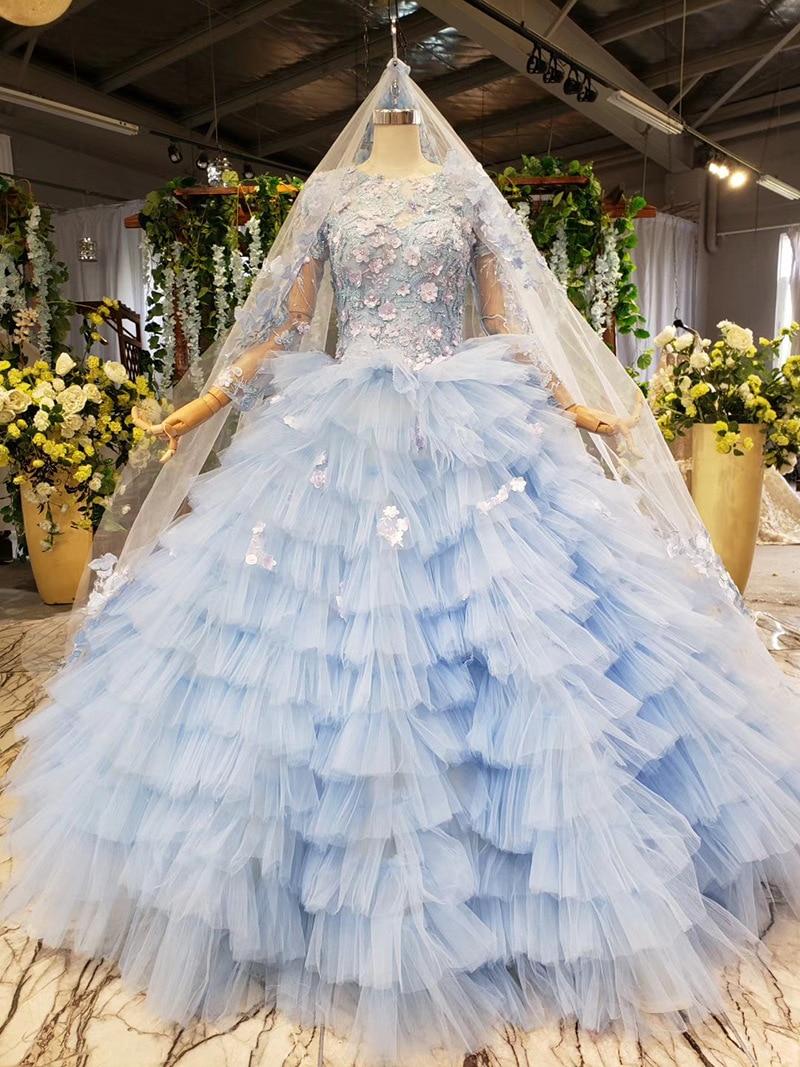 Light Blue Ball Gown Ruffles Prom Dresses 3D Flowers Long Sleeves Evening Gowns Middle East Formal Dresses Elegant Vestidos 2020