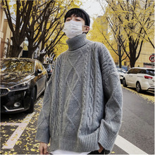 Men's sweater 2019 winter new slim high lapel knit embroidery sweater loose casual fashion personality young men's wear