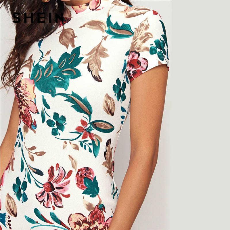 SHEIN renkli mock-boyun formu monte çiçek baskı elbise kadınlar bahar Cap kollu Bodycon zarif kalem Midi elbiseler