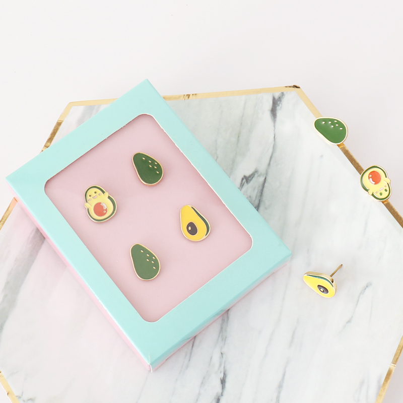 4pcs/box Avocado Shape Push Pins Office Binding Cork Board Safety Colored Pin Thumbtack For Office School Stationery Gift