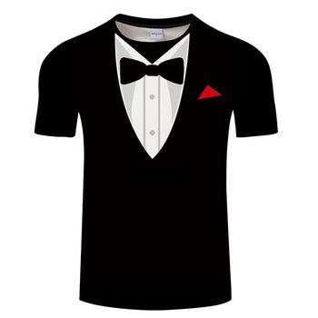 T camisas de verano corbata de lazo de los hombres 3D T camisa esmoquin Retro traje de corbata de 3D impresión camiseta pantalón corto Casual manga Streetwear divertido falso traje Tops