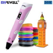 Myriwell, 3D Ручка, 3D принтер, ручка для 3D печати, ручка для рисования, 50 метров, 10 цветов, ABS нить, магический производитель, искусство, для студенческого подарка