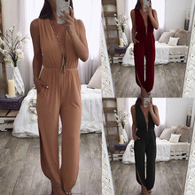 Female Slit Straight Pants Suits Outfits Long Jumpsuits Elastic Waist Women Plunging V Neck and V Ba
