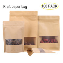 100 Pcs/Lot Stand Up Kraft Paper Pouches with Windows Snack Food Ziplock Bags Nuts Sealed Food Packaging Bags with Tear Notch