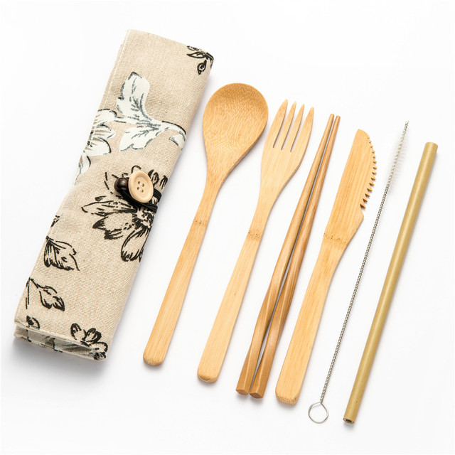 7/8/10pcs/set Reusable Bamboo Wooden Cutlery Set Fork Eco-Friendly Cutting Bag Office Worker Cooking Kitchen Tool Dinnerware Set 6