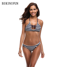 New Sexy Stripe Bikini Women Swimsuit Hollow Braided Bathing Suit S-XL Girl Cross Back Bandage Swimwear Low Waist Micro Bikini
