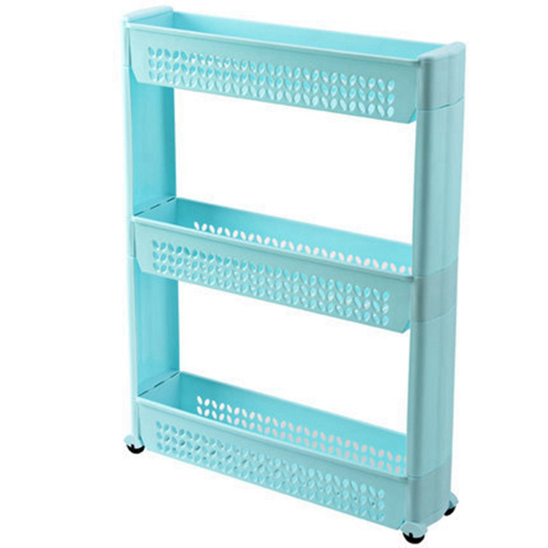 1/Pc Gap Storage Shelf Kitchen Storage Rack Shelf Slim Slide Tower Movable Assemble Plastic Bathroom Shelf Wheels Space 3 Layers
