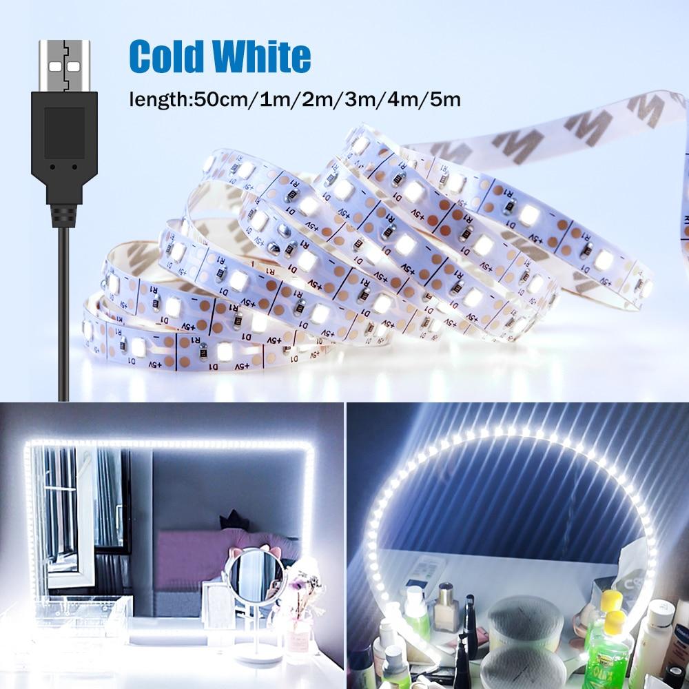 5M Tocador קון espejo איפור מראה אור מחרוזת USB 5V אמבטיה שולחן איפור מנורת קלטת Led מראת איפור איפור אור הרצועה
