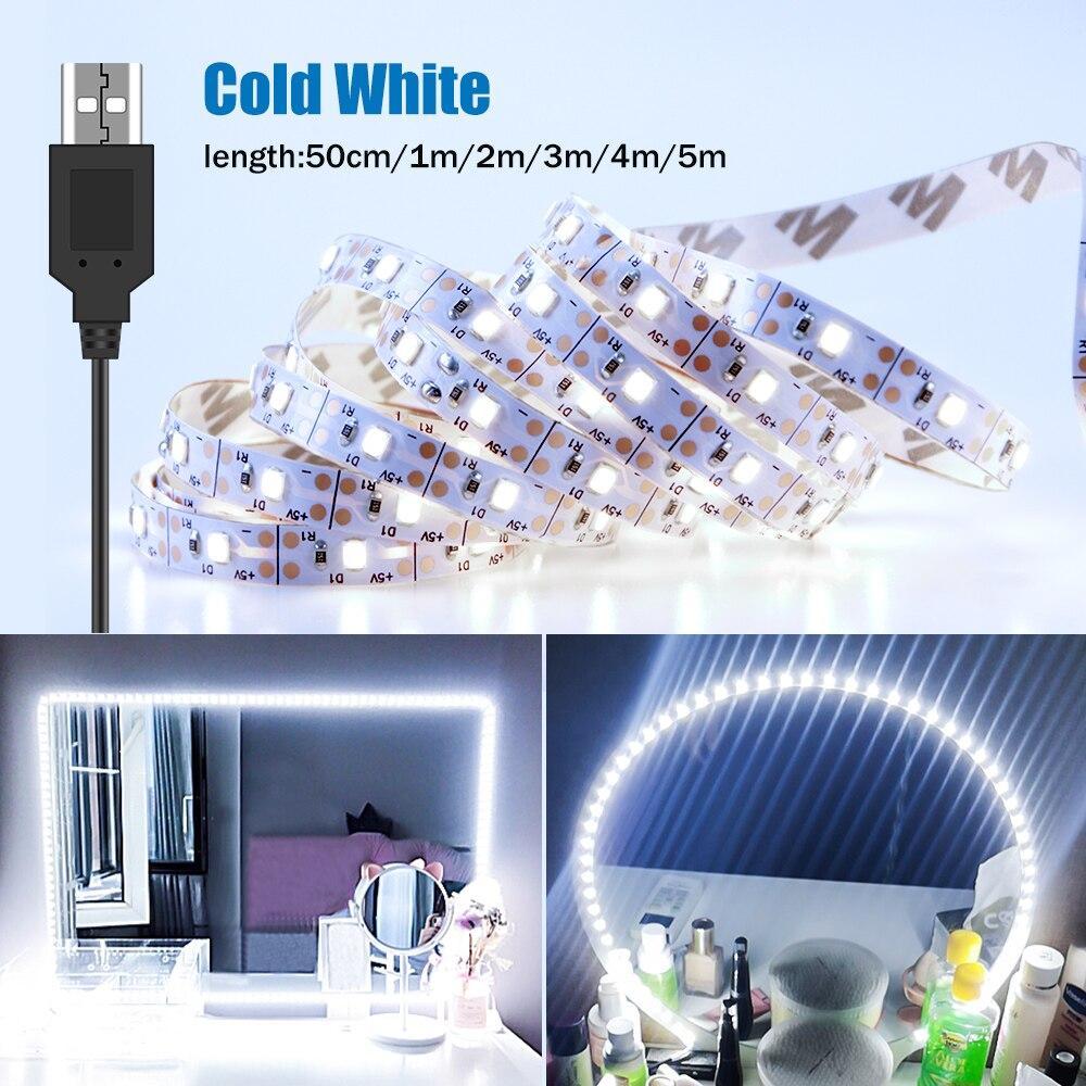 Lampe de salle de bain miroir de maquillage, cordon lumineux de maquillage USB 5V bande lumineuse de maquillage pour miroir de salle de bains
