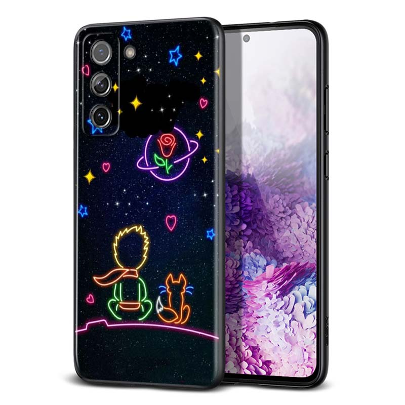 Cute Little Prince For Samsung Galaxy S21 Ultra Plus Note 20 10 9 8 S10 S9 S8 S7 S6 Edge Plus Black Phone Case