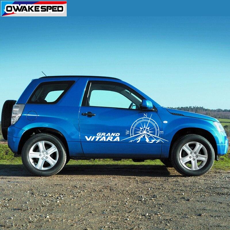 Compass Graphics Car Door Side Stickers For Suzuki Grand Vitara AT MT 3-5 doors 4X4 OFF ROAD Styling Auto Body Decor Decals (4)