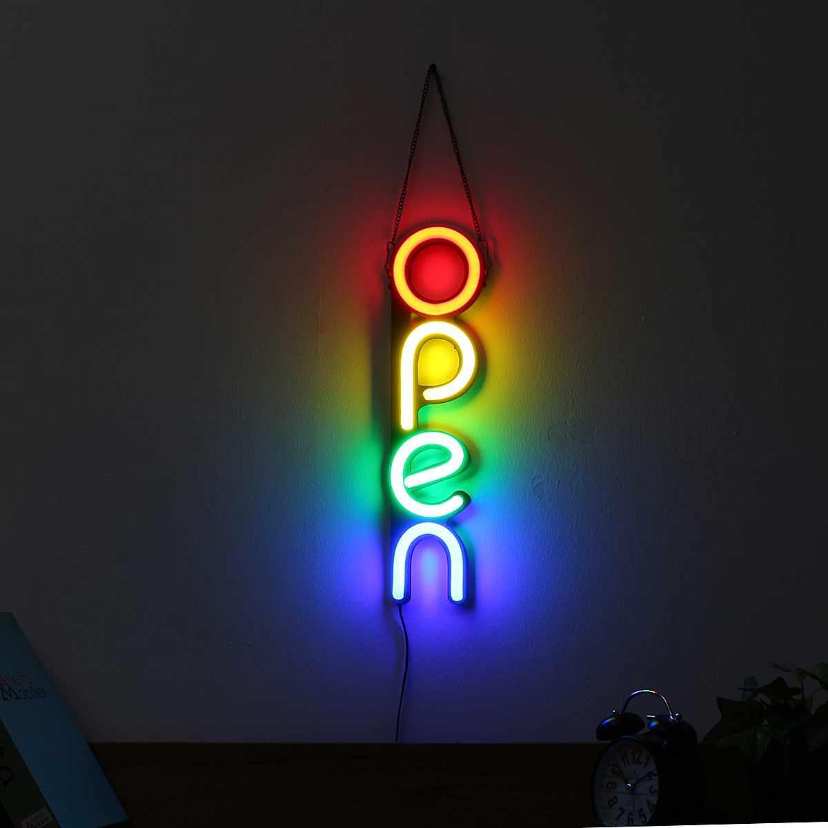 Blanc/coloré ouvert néon signe lumière mur LED lumière visuelle œuvre Bar lampe maison chambre magasin décoration Commercial éclairage