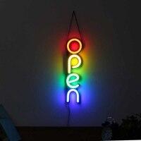 Weiß/Bunte ÖFFNEN Neon Zeichen Licht FÜHRTE Wand Licht Visuelle Kunstwerk Bar Lampe Hause Zimmer Shop Dekoration Kommerziellen Beleuchtung-in Neonröhren & Röhren aus Licht & Beleuchtung bei