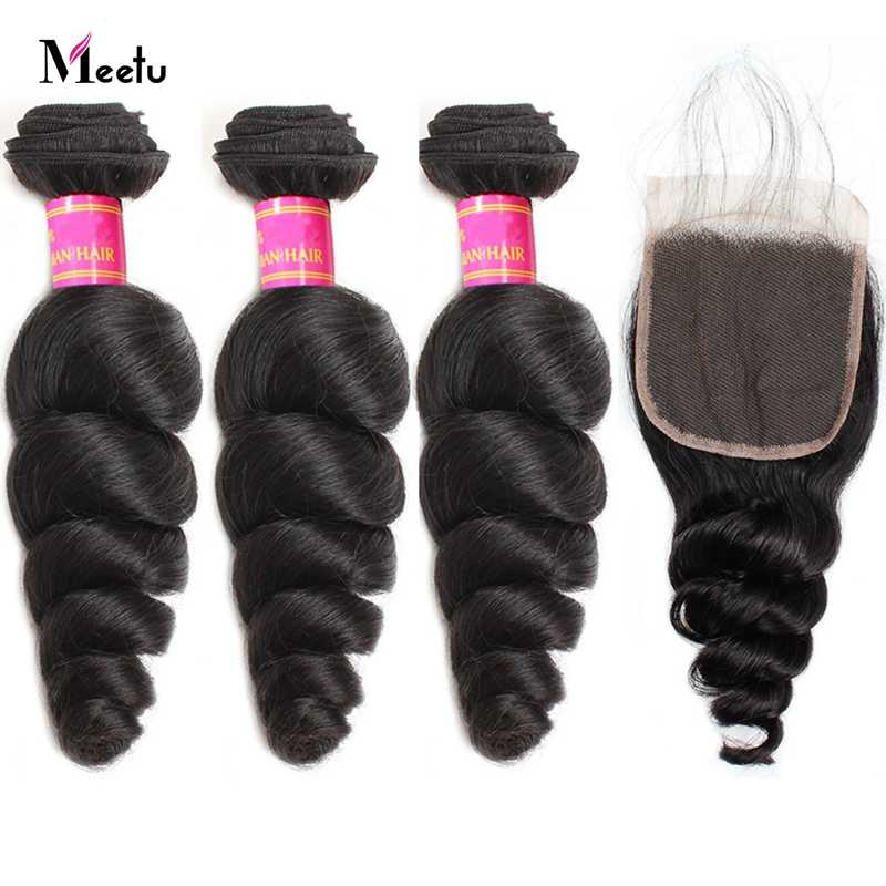 Peruvian Loose Wave Hair Bundles With Closure Middle Part 2X4 Top Lace Closure Human Hair With Bundles Meetu Non Remy Hair Weft