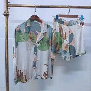 Image 5 - レディースショーツパジャマセット夏最新葉印刷半袖とショーツパジャマカーディガンラペル女性ショーツパジャマ