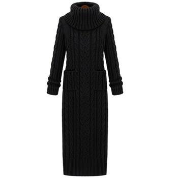 Winter Women's Wear korean coat A turtleneck and a very long sweater  Thick slim knitted dress sweater dress колонка supra bts 655
