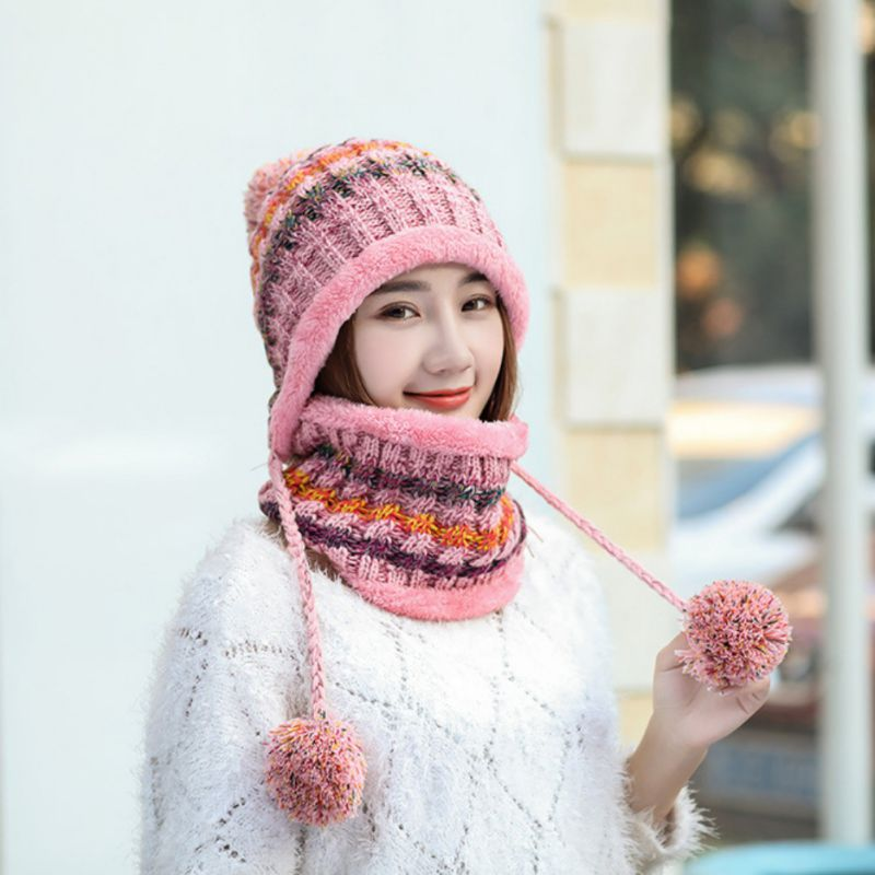 Womens Winter Hat Warm Thick Beanie Cap Scarf Knitted Ski Face Mask Cold Weather Beanies