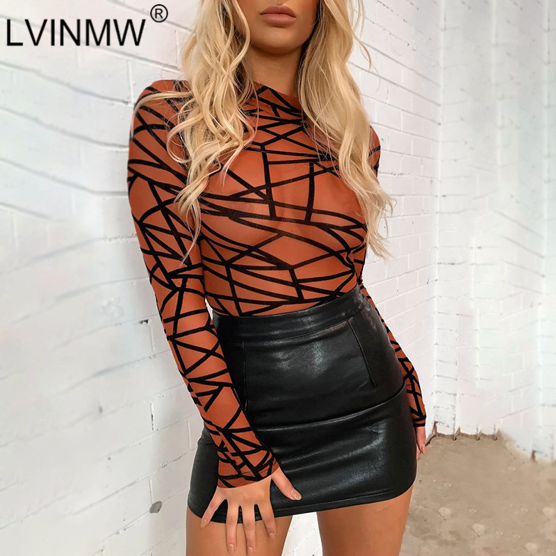 LVINMW Sexy Mesh See Through Stripe Print Bodycon Bodysuit 2019 Autumn Women Mock Neck Long Sleeve Romper Female Streetwear Tops