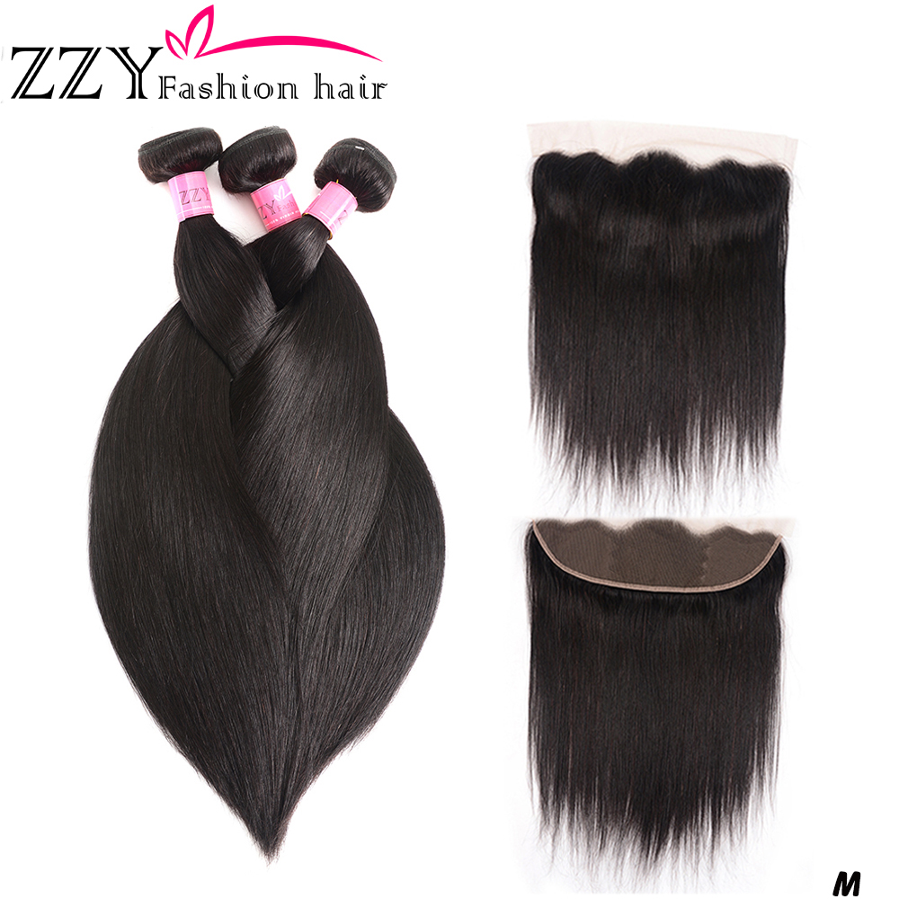 ZZY Bundles With Frontal Closure Brazilian Straight Human Hair Bundles With Lace Frontal Closure 8