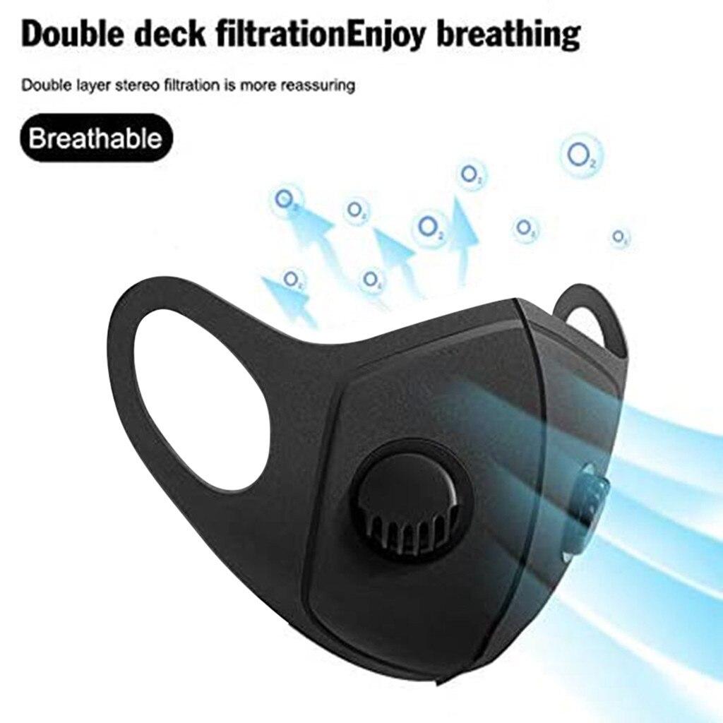 1 шт. многоразовая Пылезащитная Маска Для Взрослых Унисекс однотонная маска с клапаном Мужская/Мужская ветрозащитная дышащая маска для рта