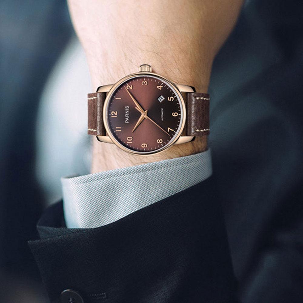 Rosa de Ouro Relógio dos Homens Relógio de Pulso Vestido Clássico Auto Winding Parnis Café Dial Data Função 38mm Nomal