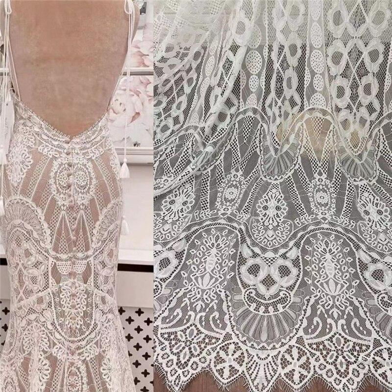 Новинка, белое Мягкое красивое платье для невесты, 150 см в ширину, 300 см в длину, ткань для шитья «сделай сам», свадебное платье, кружевная ткан...