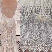 Nuevo 150 CM ancho 300Cm largo de blanco vestido de novia tela de tela para costura DIY boda Vestido vestido de encaje de tela