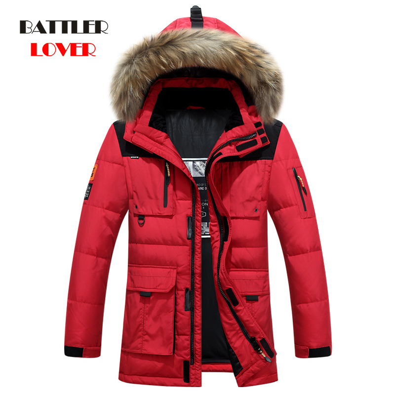 -40 Degree Cold Resistant Russia Winter Jacket Mens Top Quality Genuine Fur Collar Thick Warm White Duck Down Men
