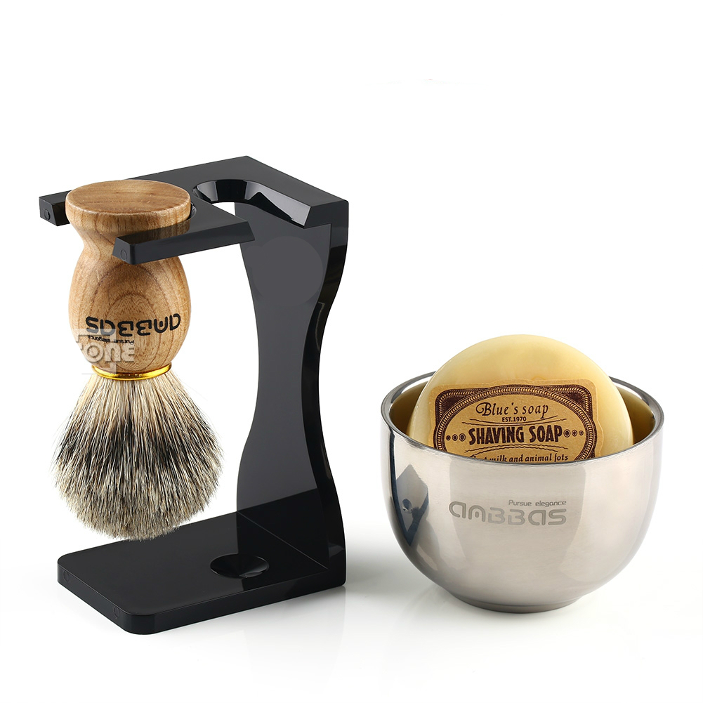 Barber Shaving Brush Badger Hair+Black Acrylic Stand+bowl+Soap Set  Home Accessories Daily Use