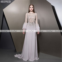 Luxury Sliver Crystal Saudi Arabic Evening Dress With Feather Long Sleeves A Line See Through Sexy Prom Gown Plus Size
