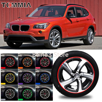 For BMW X1 Car Wheel Hub Rim Edge Protector Ring Tire Strip Guard Rubber Sticker Bumper Decals Fit 4 wheel image