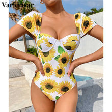 Swimsuit Women Short-Sleeve Floral Push-Up-One-Piece Swim-V2781 Female Sexy New Flower