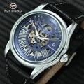 FORSINING модные повседневные автоматические механические часы для мужчин  кожаный ремешок  синий скелет  большой номер  Креативные мужские час...