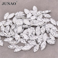 JUNAO 100pcs 7x15mm Silver Crystal Rhinestones Appliques Flatback Crystal Stickers Non Hotfix Strass Diamond For Crafts