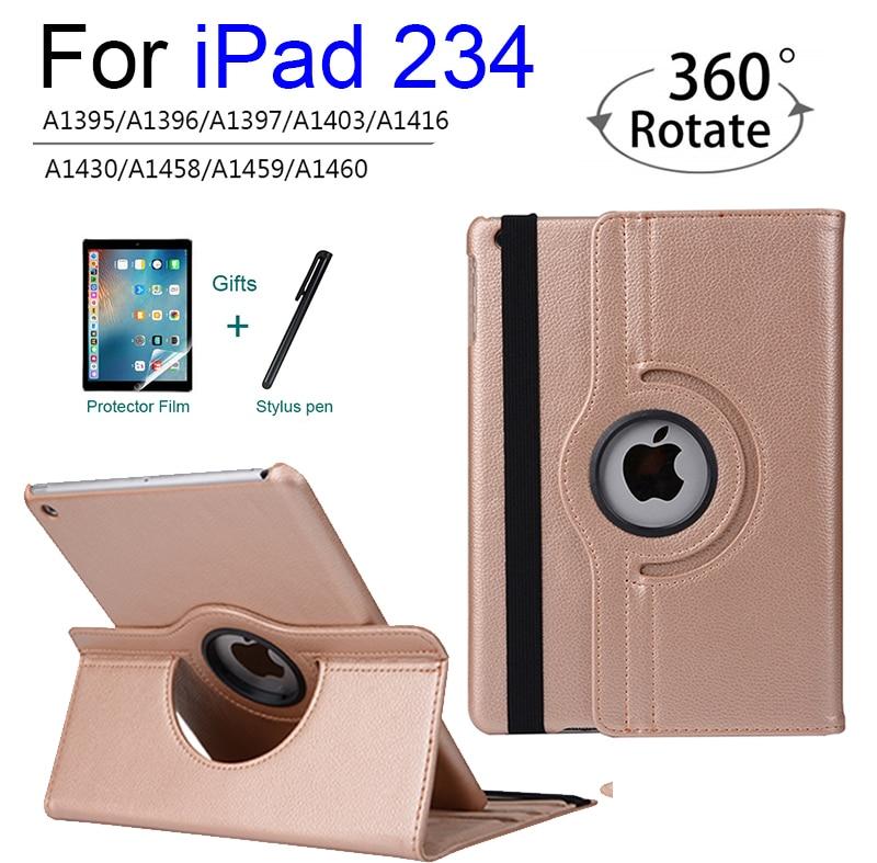 Чехол для iPad 2, 3, 4 модели A1458 1459 A1460 крышка, Auto Sleep чехол для Apple ipad 2 3 4 выпуска 360 градусов вращающийся чехол + подставка для ручек