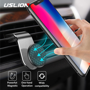 USLION Universal Magnetic Car Phone Holder Air Vent Mount For iPhone 11 Pro Max 8 7 6 Plus 360 Degree Rotating Cell Phone Stand