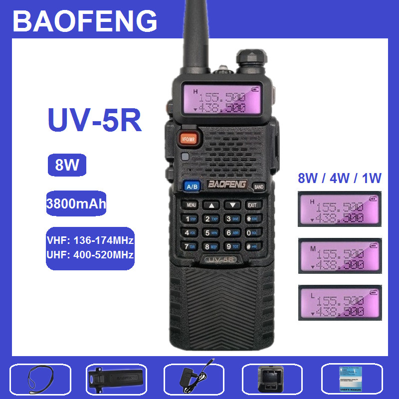 Baofeng UV-5R 8W Walkie Talkie 10KM UHF VHF 3800mAh Portable CB Radio Comunicador HF Transceiver Support USB Charge Baofeng 10W