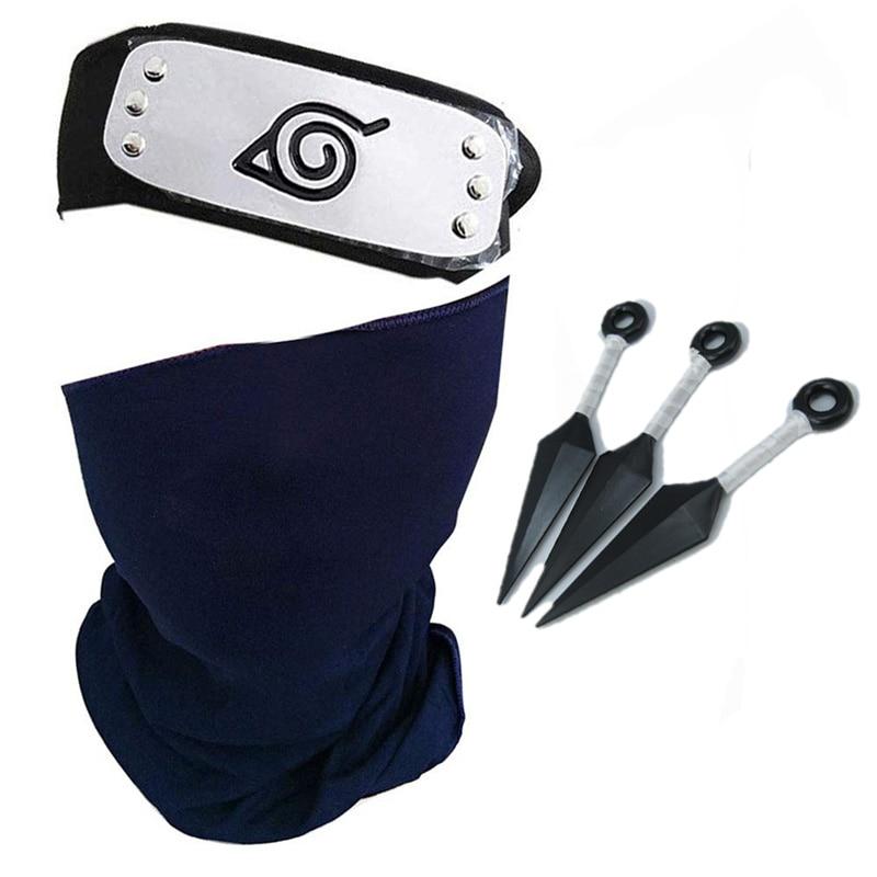 Naruto Hatake Kakashi Cosplay Mask Headband Kunai Outfit Konohagakurenosato Anime Masks Props Accessory