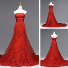 strapless Formal 2018 sexy red long lace up appliques a-line beading party elegant vestido de noiva