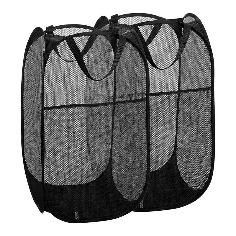 JEYL 2 Packs Mesh Up Laundry Hamper (Black) with Portable  Durable Handles  Collapsible for Storage  Foldable Pop Up Laundry Bag|Laundry Baskets| |  - title=